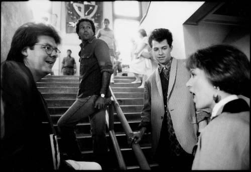behindthescreen:  On the set of Pretty in Pink : John Hughes, Jon Cryer & Molly Ringwald