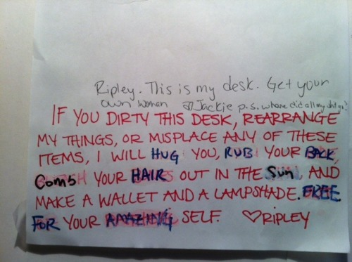 bonesludge:  Fun at Work Part I: Threat letter in desk gets altered by technical engineer  The gallery assistant and the sound engineer try to see eye to eye.