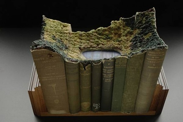 Landscapes carved into antique books. BY Guy Laramee