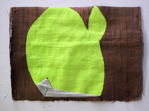 "andtherewillbetrouble:  ""My Green Envy"" 2012 Guache and Embroidery on Wood Paper"