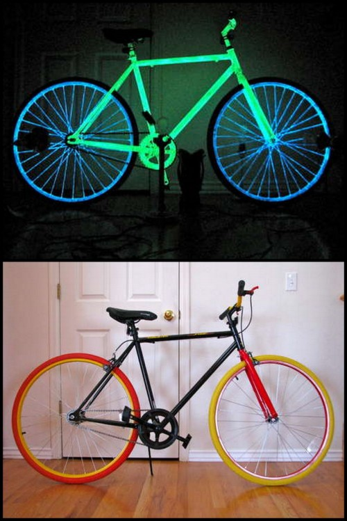 "DIY Night Bike. From Instructables here. The trick is the type of paint chosen to paint the bike:  ""The typical craft store glow paint is zinc-sulfide based in an acrylic medium, if it is colored pigments are used.  The problem with using pigments is that these colors absorb most of the light, and thus the glow isn't as bright. Instead, phosphorescent paint (used for this bike) is strontium based and glows 10 times longer and brighter. Impressive!"""