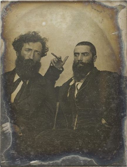 ca. 1850, [daguerreotype portrait of two bearded gentlemen], Félix Feuardent  via the Musée d'Orsay