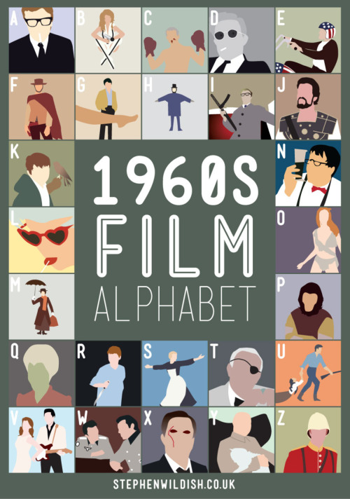 1960s film alphabet by Stephen Wildish #film #illustration