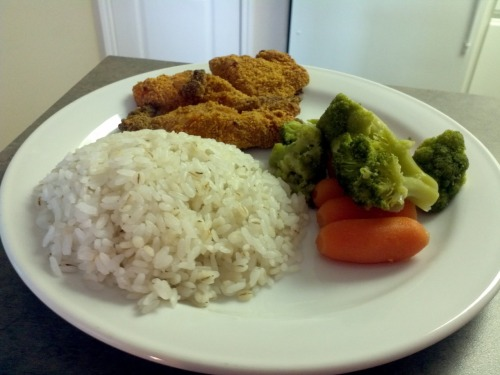 What I cooked today (5 Jan 12)  Baked chicken tenders with garden veges and barley rice