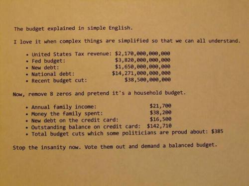National Debt for Dummies: this is a great illustration that simplifies our national budget and debt problem.