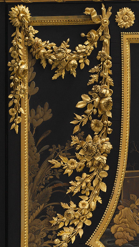 Antique Louis XVI Secretary - Jean Henri Riesener (detail) Ordered from Riesener together with a matching commode and encoignure (corner cabinet) for use in Queen Marie Antoinette's cabinet at Versailles in 1783, the secretary and the commode were sent several years later to the Château of Saint Cloud.