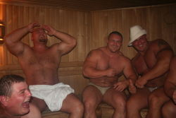stocky-men-guys:  stockycubbyguys:  Hawt sauna  Big, strong and sexy menStocky Men & Guys