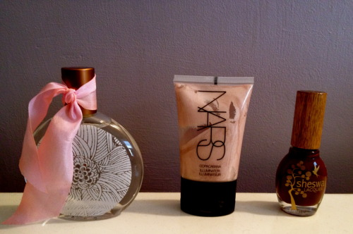 My three favorite new products: 1. Oiseau Eau de Toilette: The Charmer 2. NARS Illuminator: Copocabana  3. Sheswasi Lacquer: What