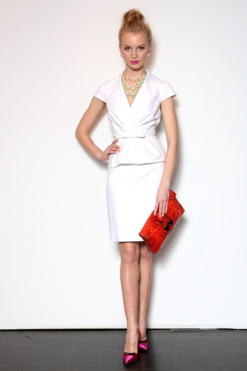 Gorgeous suit and perfect accessories.   glamour:  Kate Spade pre-fall 2012 has us dreaming of a winter escape. Photo: Fairchild Archive