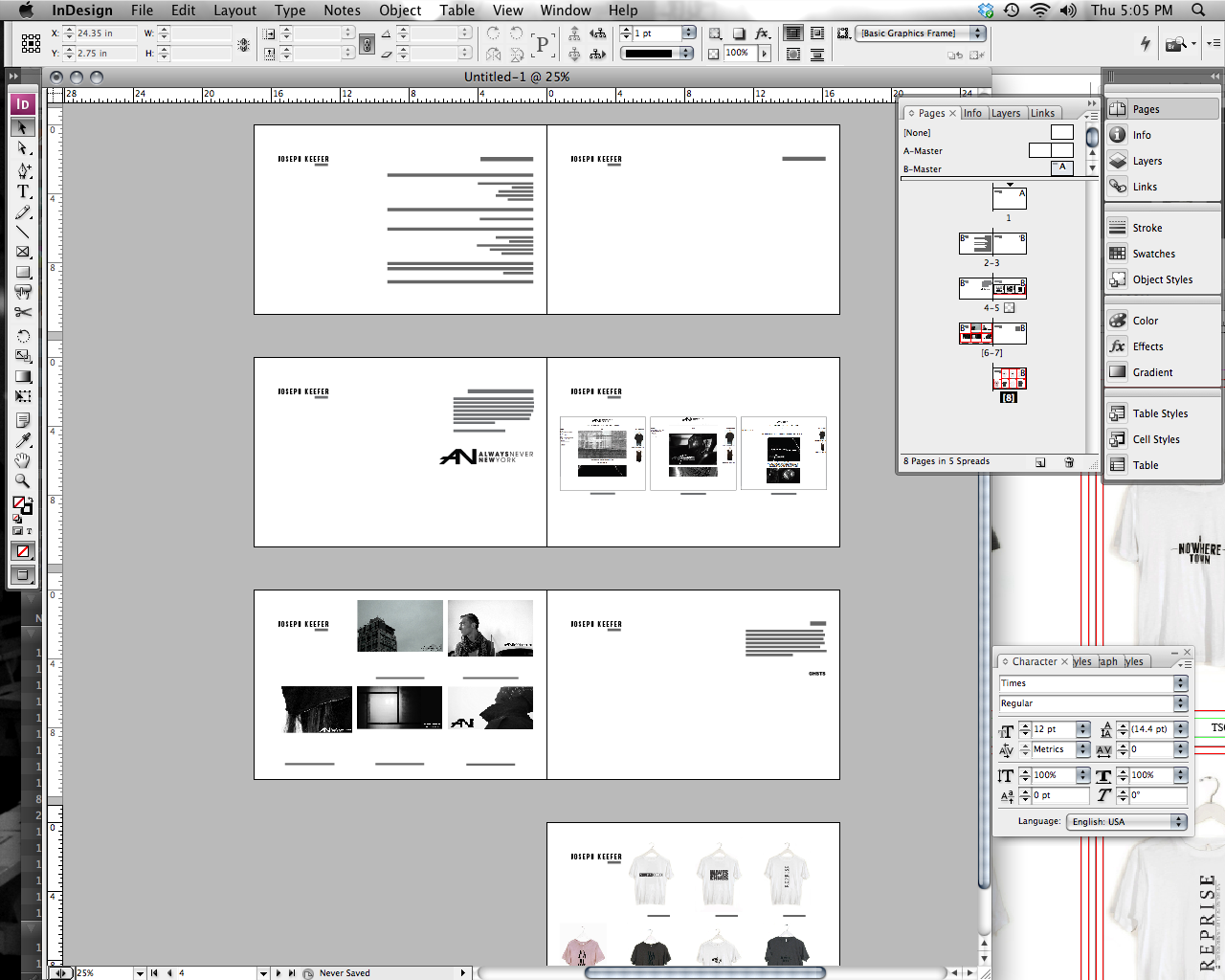 Re-working the portfolio. Sometimes you have to love Indesign