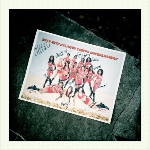 Found: minor league football cheerleader promotional photo, SIGNED!