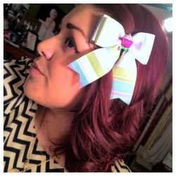 """DULCE"" irresistibly sweet this triple layered candy striped cupcake bow is on sale in the shop now  Check it out:: http://www.etsy.com/listing/89804469/dulce"