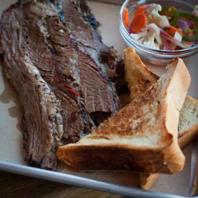 Smoked Brown Sugar Rubbed Brisket with toast and pickled vegetables at B-Side BBQ, 3303 San Pablo, Oakland, CA.
