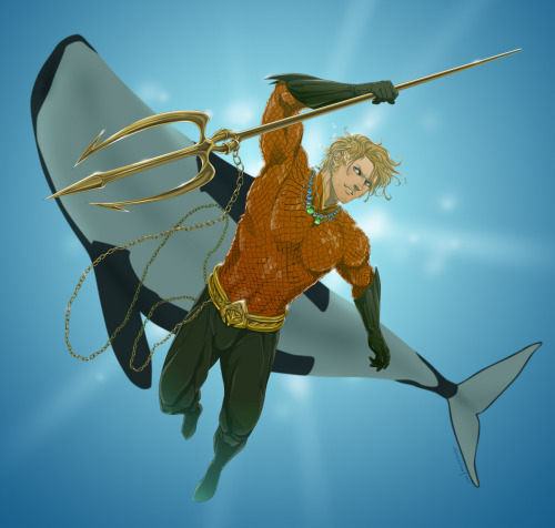 timetravelandrocketpoweredapes:  Aquaman by doubleleaf  I don't care what anyone says…Aquaman is bad ass.