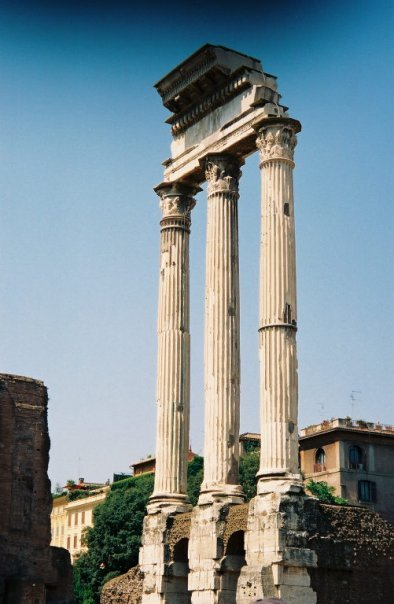 From my first visit to the Roman Forum in 2003. Photo of the Temple of Castor and Pollux.