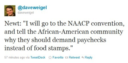 theriverwanders:  #Noot #p2 #p21 politicalprof:  Because all African Americans are unemployed and on welfare.  Ladies and gentlemen: Newt Gingrich.   They need to put down the whistle and find some other to blow because it is getting old real quick. It is amazing how no GOP are doing the responsible thing by calling them [Santorum and Newt] out and shaming them for this.