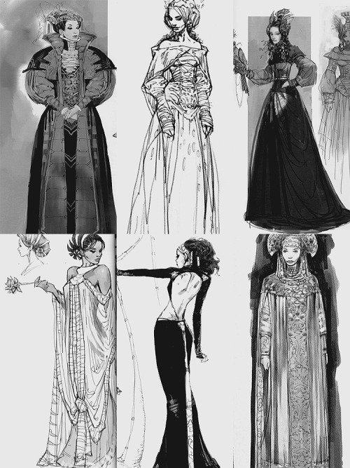 Concept art for Padmé Amidala's costumes in Attack of the Clones (source)
