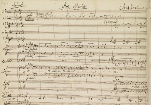 leadingtone:  Manuscript of Brahms' Ave Maria for women's choir and orchestra, Op. 12. It was his first choral-orchestral work, premiered by the Frauenchor of Hamburg which he directed for some time as a young man.  Have you heard the story about Brahms and the chorus girls up in the tree? It involves booze and the police. He loved to tell that one.