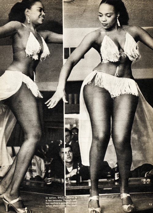 Ethelyn Butler makes a coke bottle look like a flat surface.  Vintage curves!vintagegal:  Burlesque dancer Ethelyn Butler c. 1955