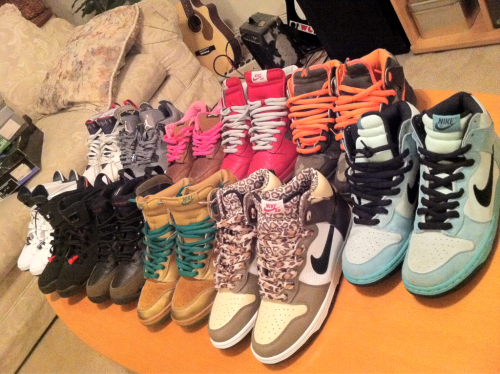 Sea Crystals, Ferris Buellers, Lucky 7's, Olive IX's, 2000 Infrared VI's, 2000 Midnight Blue VI's, Brian Anderson's, Mork and Mindy's, Gibsons, Cool Grey IV's, 2004 Olympic VII's. Fuck with me.