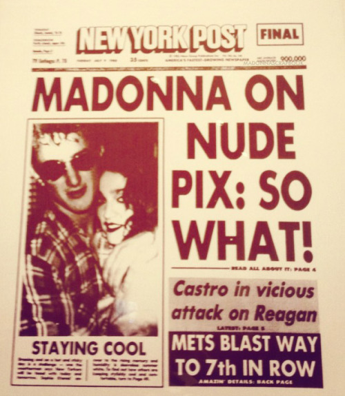 Andy Warhol and Keith Haring screen print of New York Post - Madonna on Nude Pix: SO WHAT!