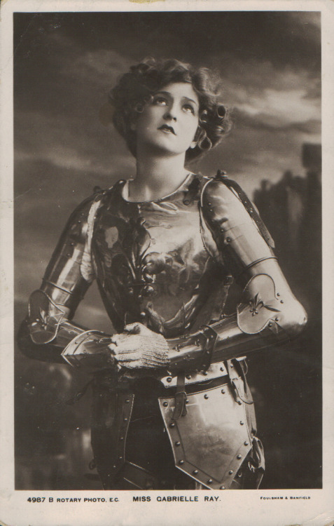 earwigbiscuits:  Edwardian actress Gabrielle Ray as Joan of Arc (via) Jan. 6th, 2012 marks the 600th anniversary of the birth of Joan d'Arc, the sainted saviour of the French born a poor peasant in Domrémy in 1412. The date is undocumented although generally accepted, and anniversary celebrations will be held all over France throughout the year. French president Nicolas Sarkozy will begin the day with a visit to the house in which the Maid of Orleans was said to have been born (authenticity also up for debate), to unveil a commemorative plaque.