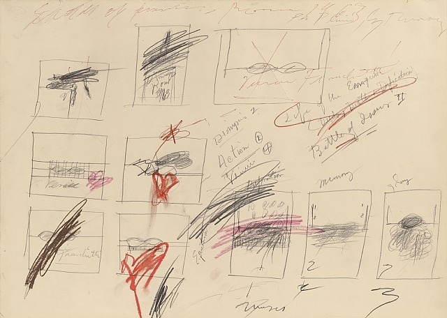 Cy Twombly, untitled, 1963. Colored crayon, graphite, ballpoint on paper.