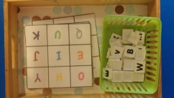 Letter Recognition Grid Game This is a bright and colorful grid game that is simple letter recognition! This is also great for various skill levels as it is quite adaptable for each child's needs.  I like to have some children match letters as is. Whatever they can do. Lowercase to uppercase, uppercase to uppercase…you get the picture. For kids who have mastered most letter recognition, I like to have them try to match lower to uppercase and visa versa! It's great practice! And when I'm sitting with them one on one, I like to have them practice letter sounds along with it.