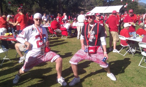 Here are some fun drinking photos from the UW tailgate at the Rose Bowl. I believe I saw the biggest Flip Cup Game ever. I think it was 30 tables long.  I have a video to prove it, too.