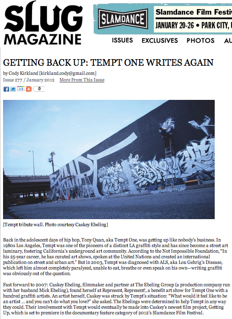 "Getting Back Up: Tempt One Writes Again  -By Cody Kirkland A feature article I wrote for SLUG Magazine is out online now and hot off the press in print tomorrow morning. Pick one up anyplace cool! Here is an excerpt: 'In 2010, after being unable to draw since he was diagnosed with ALS, Tempt One wrote graffiti for the first time in seven years. Wearing the EyeWriter, Quan was able to write the word ""Tempt"" on a computer screen, line by line, by simply moving his eyes. ""That was the first time I've drawn anything in seven years. I feel like I had been held under water, and someone finally reached down, and pulled my head up so I could take a breath,"" says Quan, as quoted in Mick Ebeling's TED Talk about the EyeWriter project. Although rudimentary compared to the intricate pieces that made him a graffiti legend, these first scrawls after seven years of artistic silence were monumental. ""In the film, that's sort of the highlight. When he gets back up,"" says Caskey. Soon, GRL was able to link Tempt's EyeWriter with their Laser Tag setup, which projects gigantic virtual tags onto whatever surface they choose to point it at. Although still confined to a hospital bed, Tempt is able to make his art anywhere in the world in real time. ""So Tempt gets up using Laser Tag … If a GRL volunteer contacts him and says, 'At this date and time I'm gonna put you on the Taj Mahal, or on a pyramid, or …  on the leaning tower of Pisa,' anyone who decides they want to help him, he can draw from his hospital bed, anywhere,"" says Caskey. ' © Copyright 2007-2012 SLUG Magazine. All rights reserved."