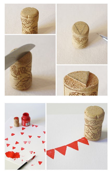 procraftinate:  via http://abitofpillipilli.blogspot.com/ Make a cute mini stamp with a wine cork! I like the triangle the author uses: it makes for a lovely pendant-garland stamp!