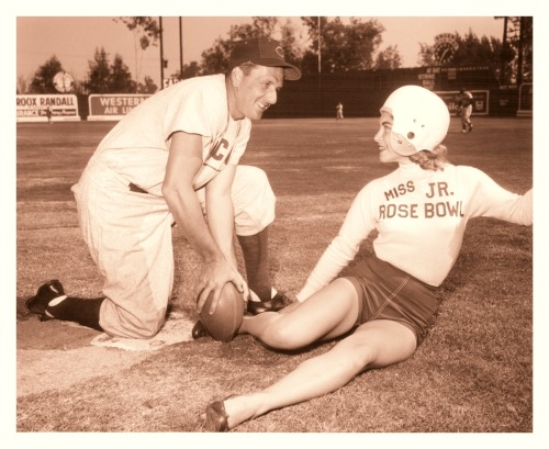 Miss Jr. Rose Bowl 1954 - Beverly Gould That's baseball great Ralph Kiner (sporting a Cubs uniform) that Beverly is sliding into while wearing a football helmet. Gotta love the old-school football/baseball mashup pictures!
