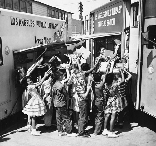 I love this photo!  Do you remember the bookmobile?
