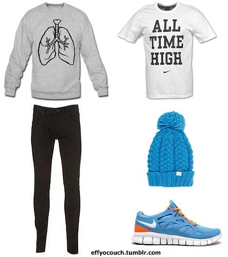 As A Proud Runner. I Just Had To. - Jazzy D Breathing Lungs Crew Neck Sweater: Gray/Black - Nike All Time High Tee: White/Black - H&M Skinnys: Black - Coal Beanie: Turqoise - Nike Free Run 2: Turqoise/Orange/White