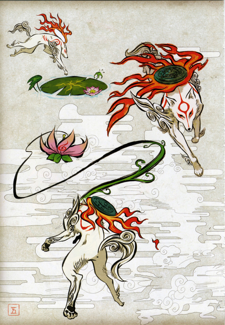 skippylynn:  Okami Official Illustrations: Jumping Ammy