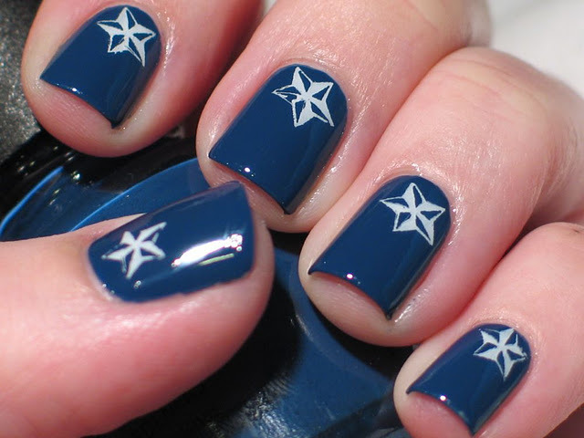Feeling Blue but slightly Nautical?! Featuring: China Glaze First Mate, Konad Special White, BM206