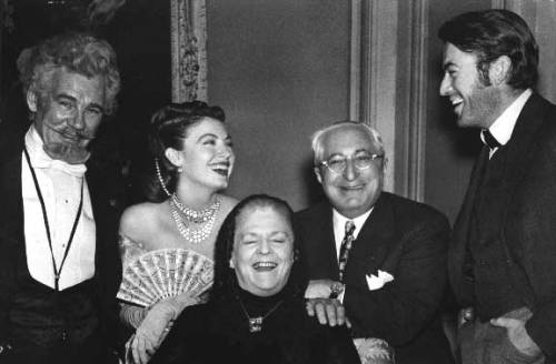 Ava Gardner & Gregory having a laugh with the cast of The Great Sinner