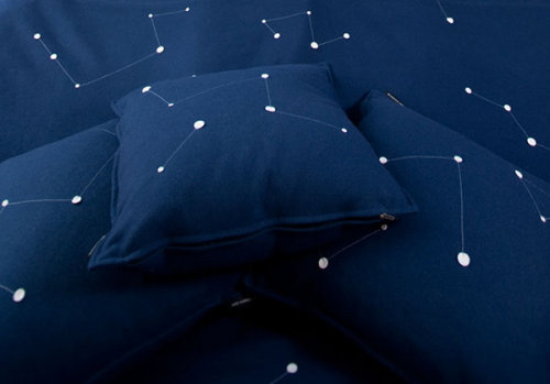 truebluemeandyou:  DIY Inspiration. Screen print/paint/embroider constellations on dark blue cushions. Use glow-in-the-dark paint. From the UFO Tree House in the Treehotel group in Sweden here. *TIP: For a list of constellations alphabetically and by month go here, then click on the link or google the name to find out how it looks.  *EDIT: If you decide to go with glow-in-the-dark paints there is a whole discussion about these paints on another post of mine - the Night Bike here. Go to www.glonation.com to see if this paint is right for you.