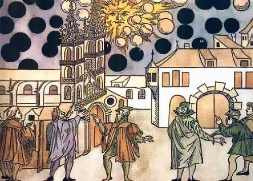 16th century woodcut of spheres seen over Basel, Switzerland, August 7, 1566.  (Wickiana Collection, Zurich Central Library) apparently evidence of 16th century UFOs.