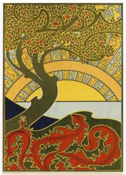 "yama-bato:  Gisbert Combaz • Art Nouveau Tree • Circa 1896 Gisbert Combaz (1861-1941)  was one of the leading Belgian practitioners of the Art Nouveau style,  popular in the late 19th and early 20th centuries.Trained  as a lawyer, Combaz soon turned to design. He developed a unique  cloisonne style of patterned images (birds, figures, land and seascapes)  enclosed in a darkly colored outline. He worked in many media:  paintings, lithographs, drawings and sculpture. His work is widely  collected and is in leading collections of Art Nouveau throughout Europe  and the United States.Combaz's  designs make for wonderful needlepoint canvases with their bold forms  and colors combined with their sensuous Art Nouveau flowing lines. This poster was  created for  an exhibition of ""Salon de Libre Esthetique"" (Salon of Aesthetic  Freedom), a group of leading Belgian painters. http://www.needlepointmasters.com/art-nouveau-combaz-art-nouveau-tree-circa-1896/"