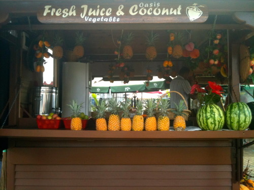 Everywhere in Mauritius they have stands where they make a fresh juice of your choice right in front of you, it's the dopest