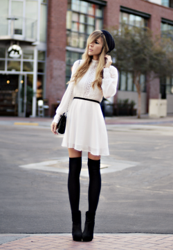 what-do-i-wear:  Hat - Vintage, Dress - Dolce Vita, Bag - Chanel, Socks - American Apparel, Boots - Dolce Vita (image: thenativefox)