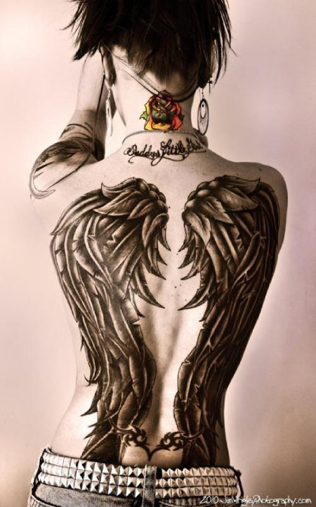 Aubrey's wings…30 hrs…freehand black and grey