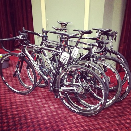 Race bikes prep'd for the Australian u23 champs tomorrow (Taken with instagram)