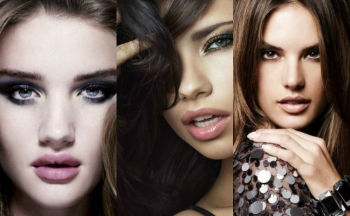 chococrispy:     Rosie Huntington-Whiteley, Adriana Lima and Alessandra Ambrosio with and without make up.