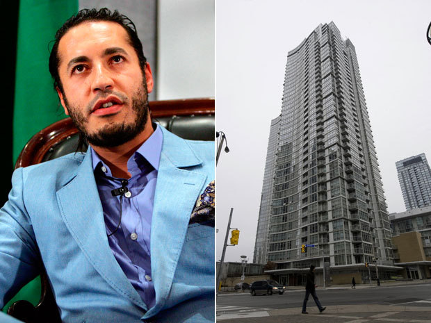"Ottawa puts freeze on Saadi Gaddafi's $1.6M Toronto condoFederal government lawyers have frozen a $1.6-million penthouse on the Toronto waterfront owned by Saadi Gaddafi, the fugitive son of the late Libyan dictator Colonel Muammar Gaddafi.The Department of Justice filed a notice that prevents Mr. Gaddafi, who is the subject of an assets freeze imposed by the United Nations Security Council, from selling the downtown luxury condo.The government took action after the National Post revealed that Mr. Gaddafi was the registered owner of the suite, which has a view of Lake Ontario and access to a pool, bowling alley and squash, basketball and tennis courts.Mr. Gaddafi, 38, is wanted on an Interpol warrant issued in September. The Security Council froze his assets in March, describing him as a commander of ""military units involved in the repression of demonstrations."" (Photo: Left: Tim Wimborne/Reuters; Right: Tyler Anderson/National Post)"