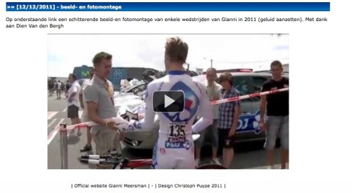 Waaaaaaaaa OMG!!!! That's my video on the official site of Gianni Meersman!!!!! <3