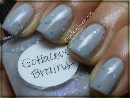 NOTD: Lynnderella Gotta Love Brains over China Glaze Pelican Gray