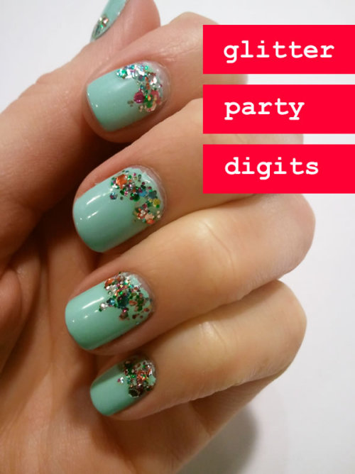 Love the glitter along the cuticle! Need more sparkle in 2012! (via love, blair) <3 Nicole, ModStylist