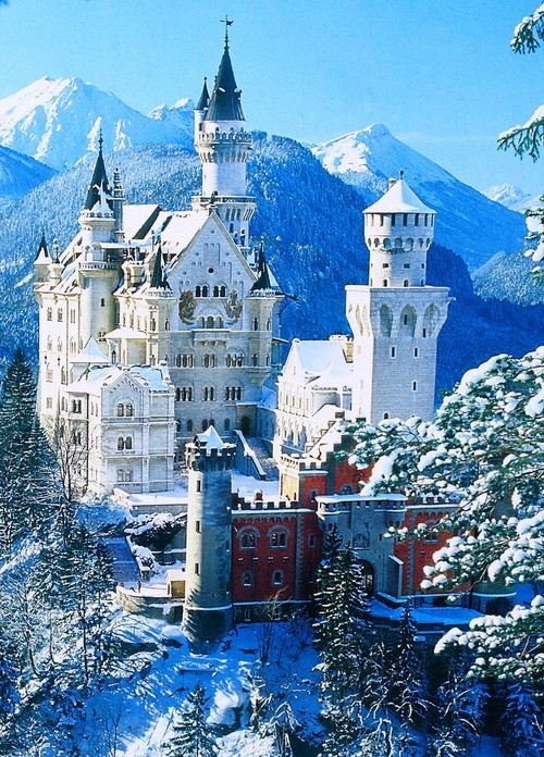 The real Cinderella's Castle. Neuschwanstein Castle, Bavaria, Germany